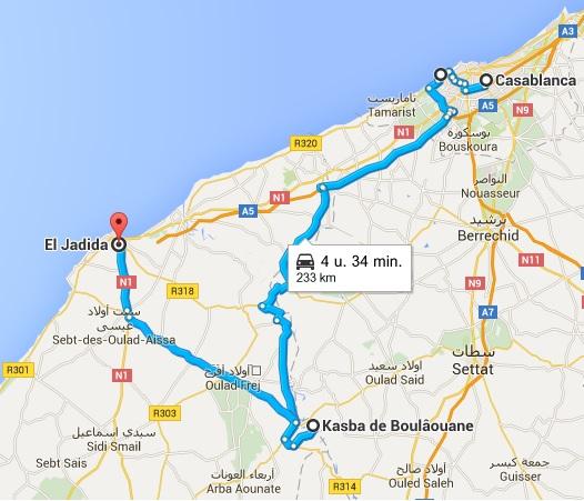 Route Casablanca marabout Sidi Abderrahmane kasbah Boulaouane El Jadida